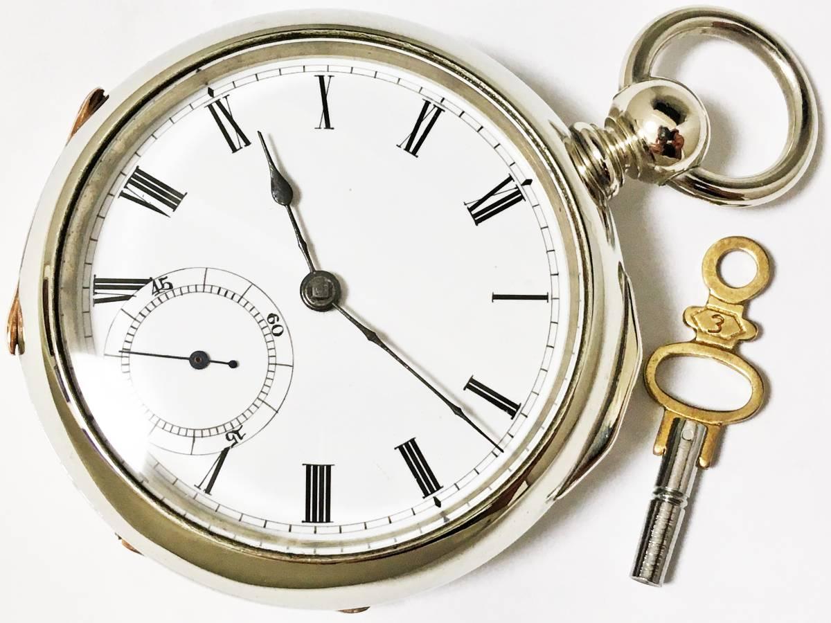 1881年製◆WALTHAM ブロードウェイ 鍵巻き 大型18S 7石 Gr,Broadway ウォルサム懐中時計◆美品