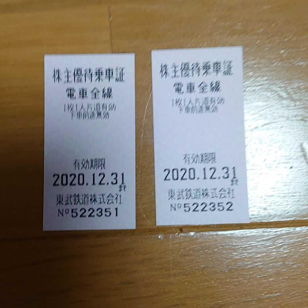 株主優待乗車証 東武鉄道 (2020年12月31日まで有効)_画像1