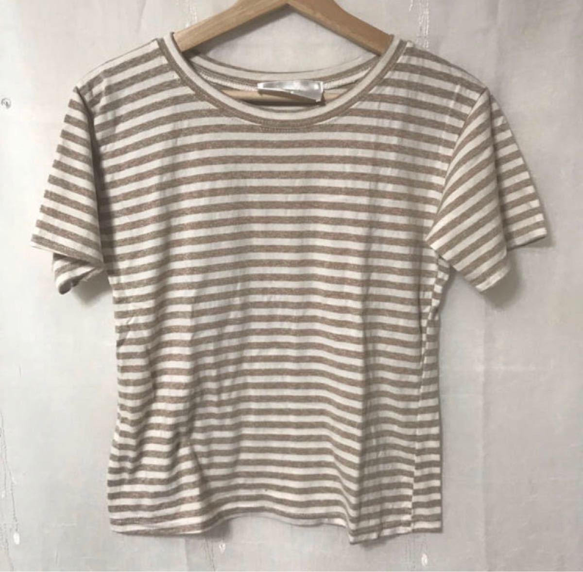 ボーダー Tシャツ カットソー ベージュ 半袖