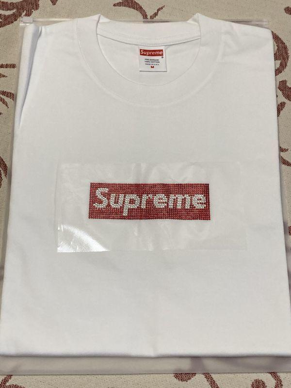 未使用品 Supreme シュプリーム 2019ss swarovski Tee ホワイト 白 ボックスロゴ Tシャツ