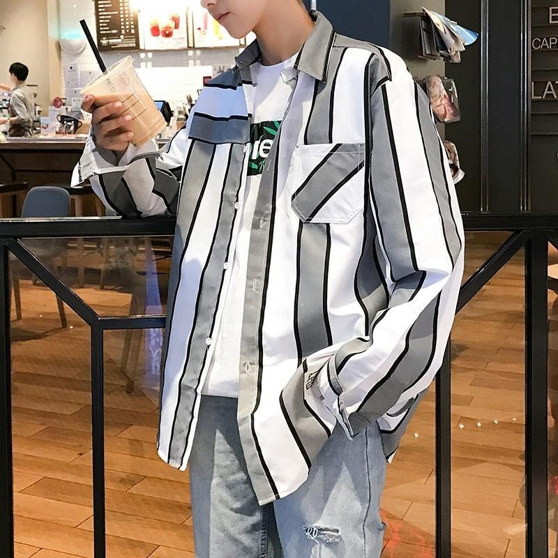 シャツ ストライプ 長袖シャツ 長袖 オルチャン 韓国 トップス アウター 新品