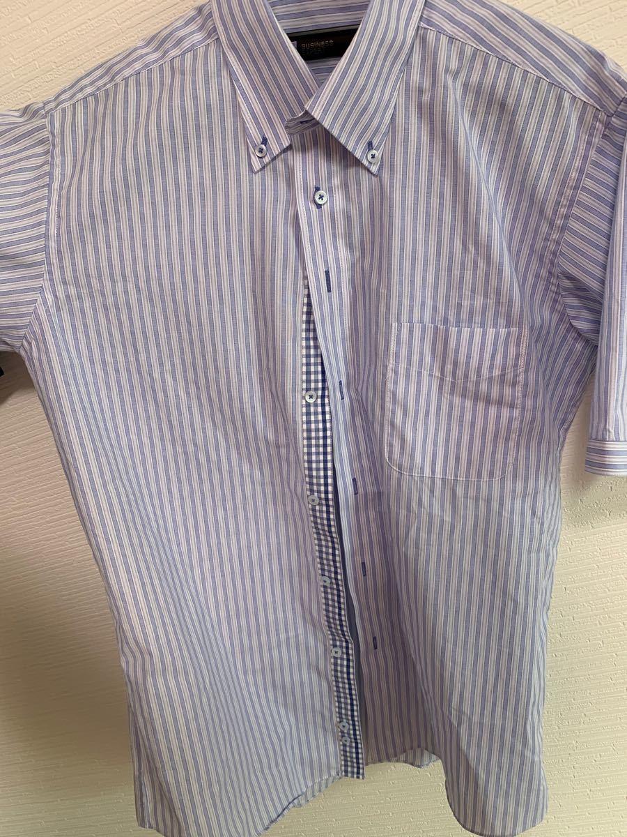 メンズ  半袖シャツ ワイシャツ L〜LL ストライプ ブルー
