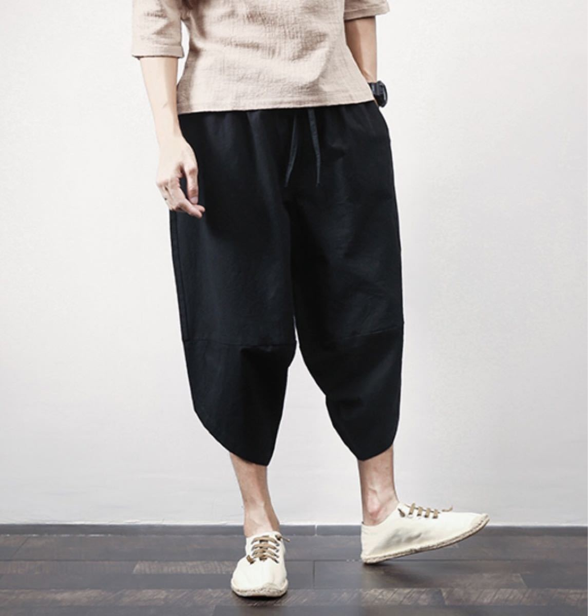 サルエルパンツ メンズ カジュアル 七分丈ゴム紐ブラック黒服コーデワイドゆったり