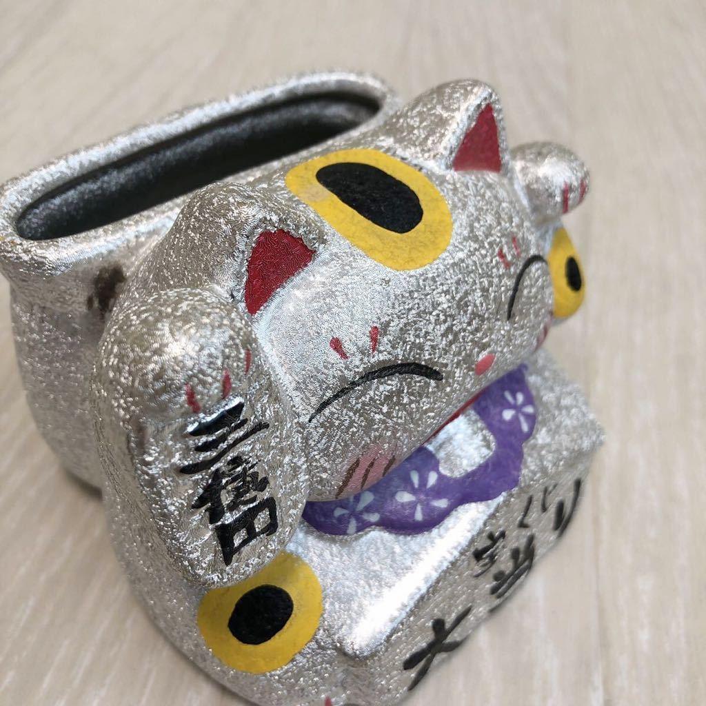 美品 招き猫 置物 貯金箱 宝くじ 収納 小物入れ 印鑑 三億円 まねき猫 置物 インテリア_画像4