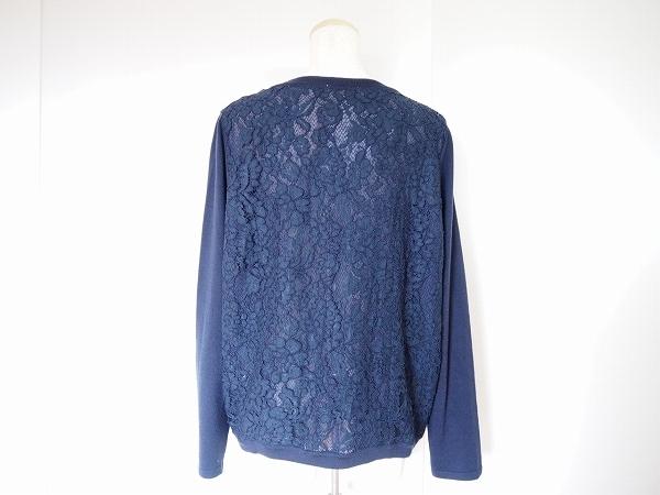 #wnc ローズティアラ Rose Tiara カーディガン 42 紺 刺繍 ビジューボタン レース 大きいサイズ レディース [632729]_画像3