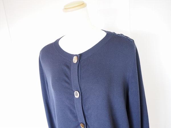 #wnc ローズティアラ Rose Tiara カーディガン 42 紺 刺繍 ビジューボタン レース 大きいサイズ レディース [632729]_画像4
