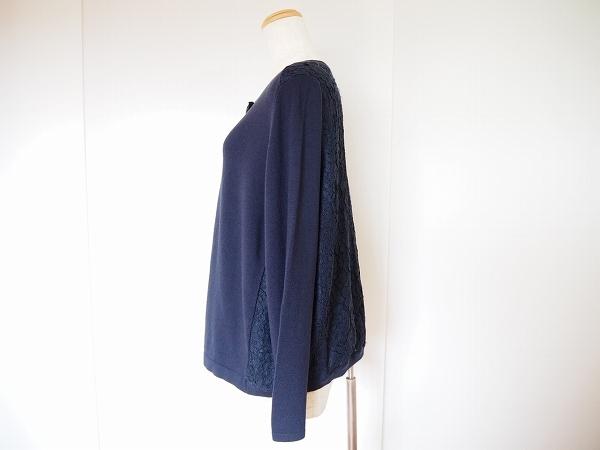 #wnc ローズティアラ Rose Tiara カーディガン 42 紺 刺繍 ビジューボタン レース 大きいサイズ レディース [632729]_画像2