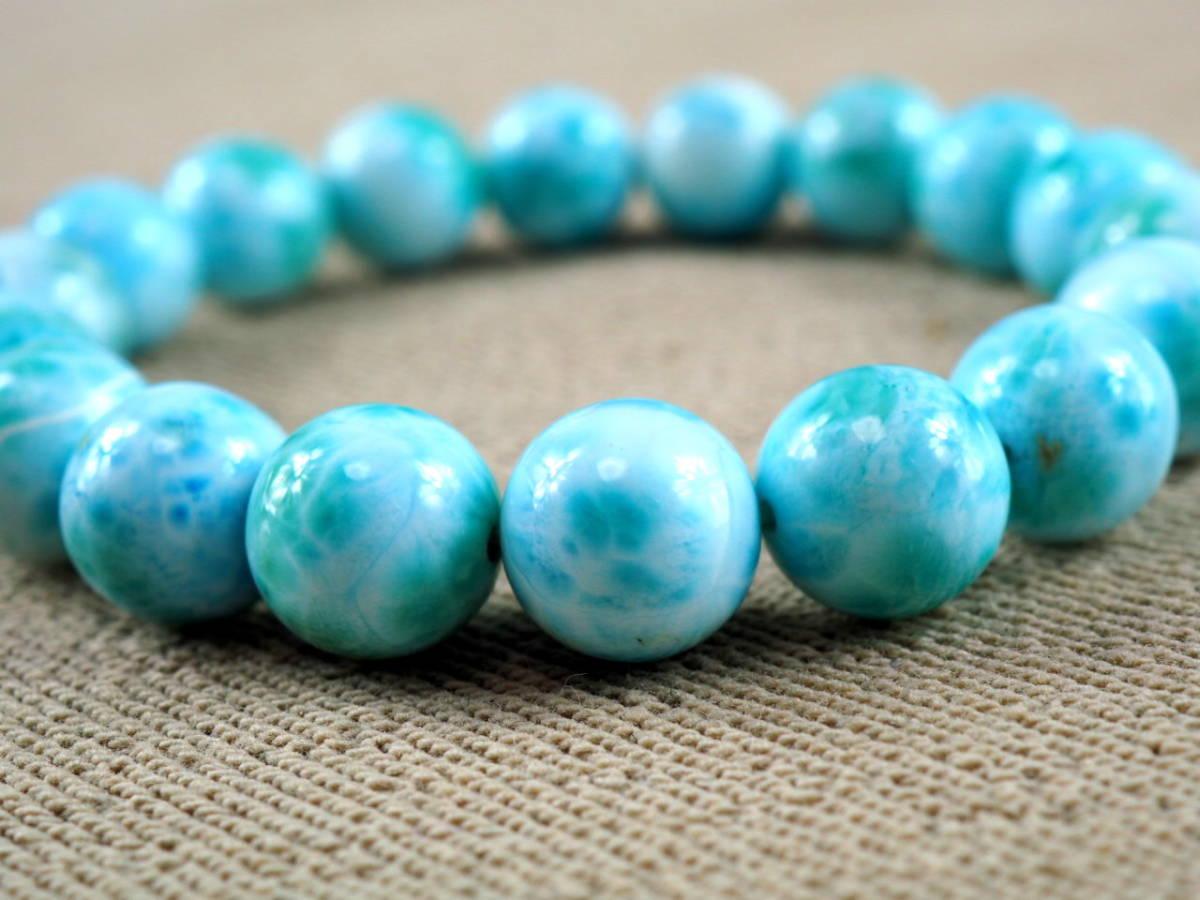 【新品】極上高級天然宝石 ラリマー ドミニカ共和国産 ブレス 11mm ブルー・ペクトライト パワーストーン larimar メンズ 愛と平和 A6_画像3