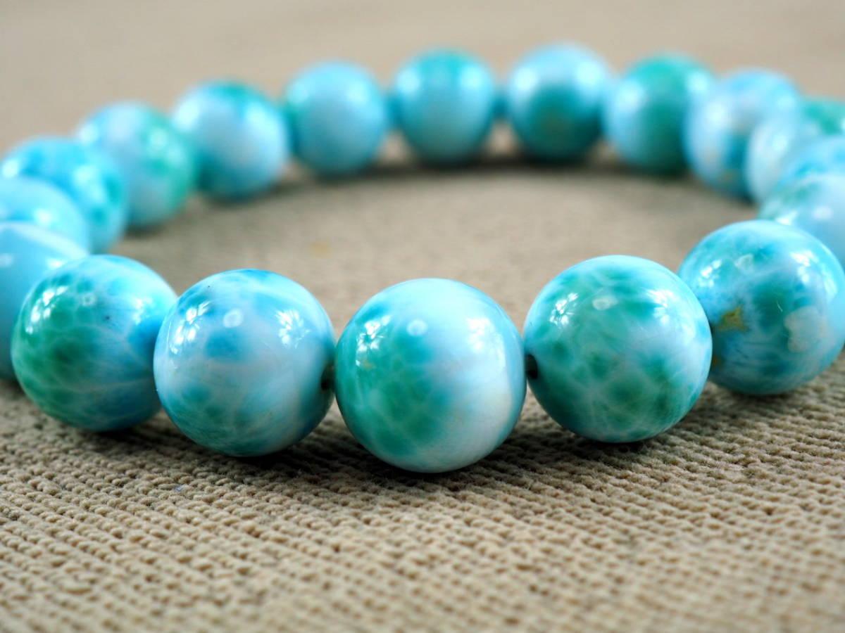 【新品】極上高級天然宝石 ラリマー ドミニカ共和国産 ブレス 11mm ブルー・ペクトライト パワーストーン larimar メンズ 愛と平和 A6_画像5