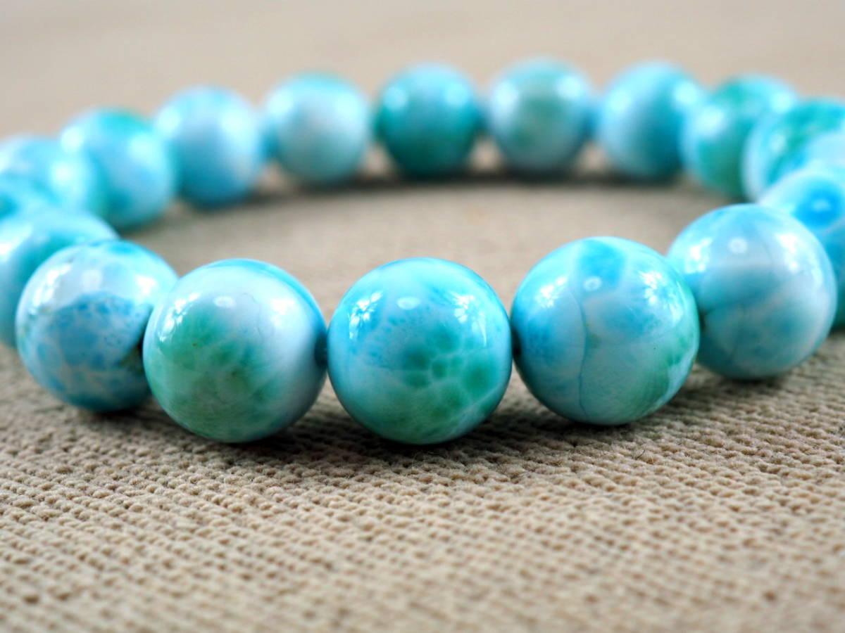 【新品】極上高級天然宝石 ラリマー ドミニカ共和国産 ブレス 11mm ブルー・ペクトライト パワーストーン larimar メンズ 愛と平和 A6_画像4