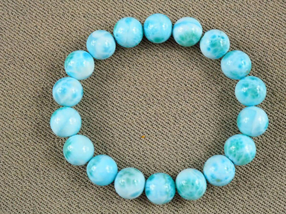 【新品】極上高級天然宝石 ラリマー ドミニカ共和国産 ブレス 11mm ブルー・ペクトライト パワーストーン larimar メンズ 愛と平和 A6_画像7
