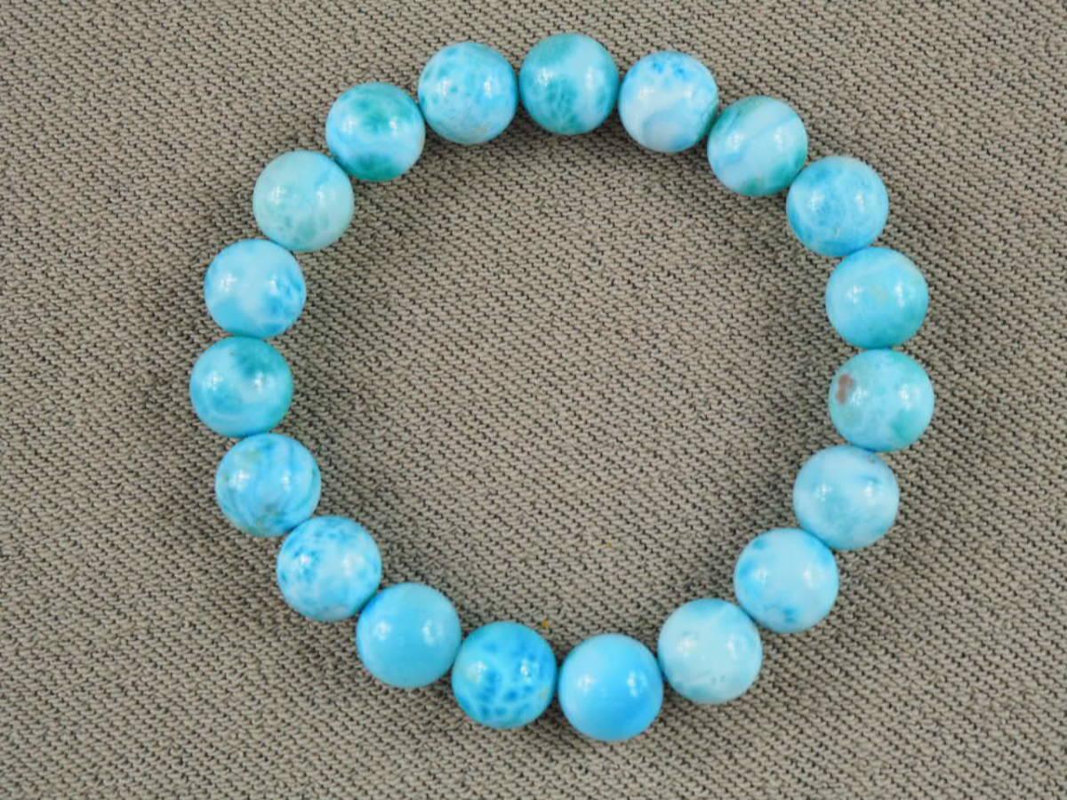 【新品】極上高級天然宝石 ラリマー ドミニカ共和国産 ブレス 10,5mm ブルー・ペクトライト パワーストーン larimar メンズ 愛と平和 E2_画像6