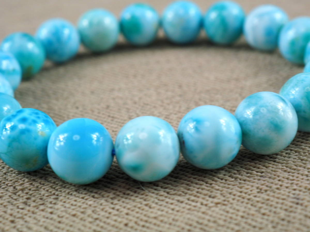 【新品】極上高級天然宝石 ラリマー ドミニカ共和国産 ブレス 10,5mm ブルー・ペクトライト パワーストーン larimar メンズ 愛と平和 E2_画像5