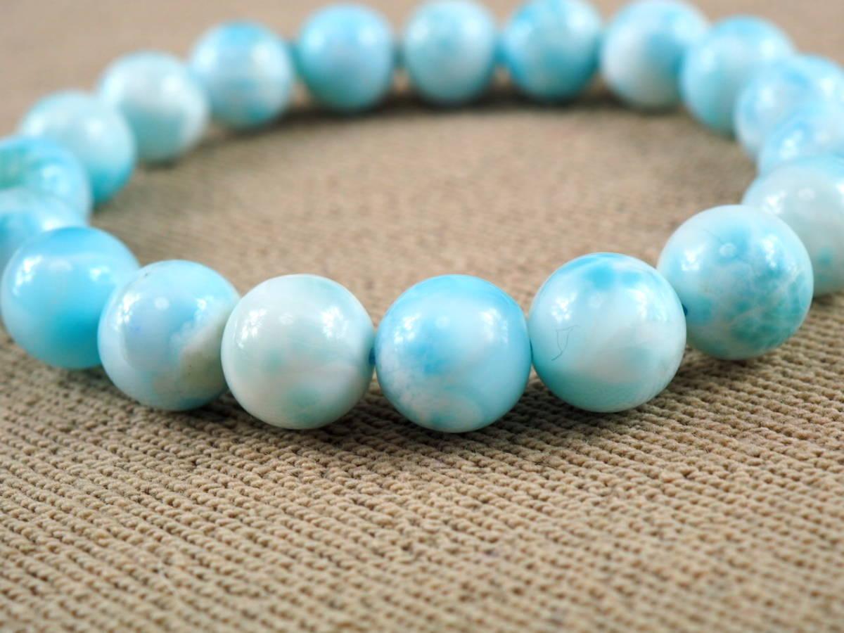 【新品】極上高級天然宝石 ラリマー ドミニカ共和国産 ブレス 10,5mm ブルー・ペクトライト パワーストーン larimar メンズ 愛と平和 E3_画像2