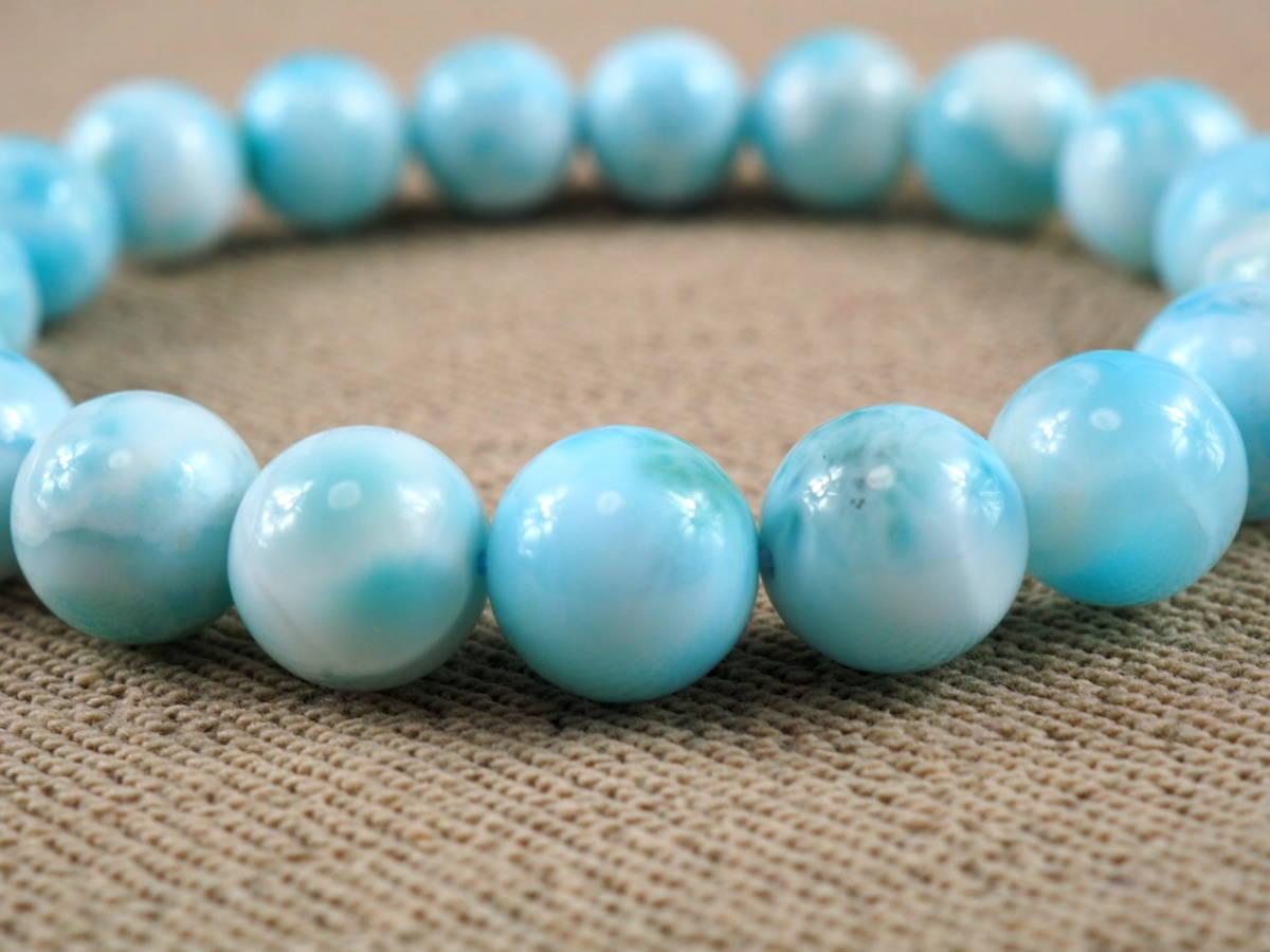 【新品】極上高級天然宝石 ラリマー ドミニカ共和国産 ブレス 10,5mm ブルー・ペクトライト パワーストーン larimar メンズ 愛と平和 E3_画像3