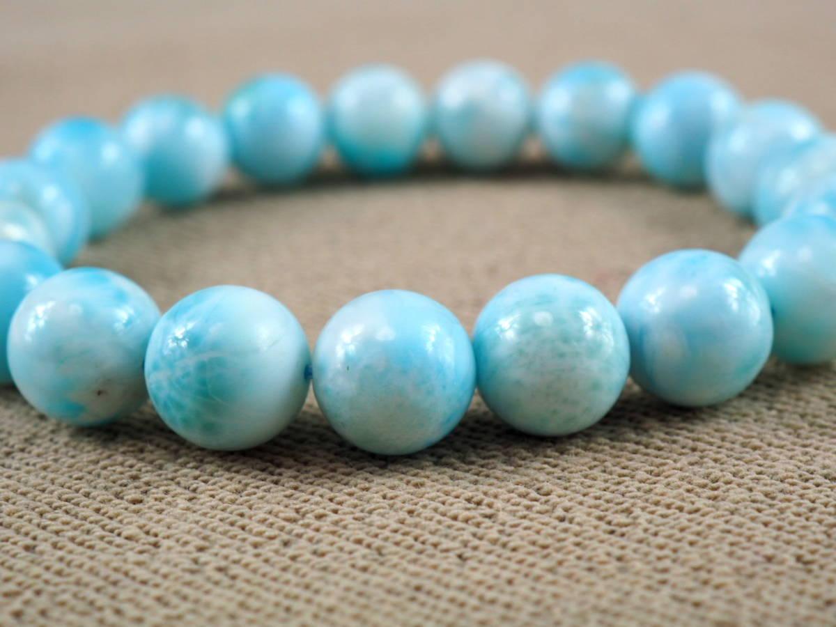 【新品】極上高級天然宝石 ラリマー ドミニカ共和国産 ブレス 10,5mm ブルー・ペクトライト パワーストーン larimar メンズ 愛と平和 E3_画像5