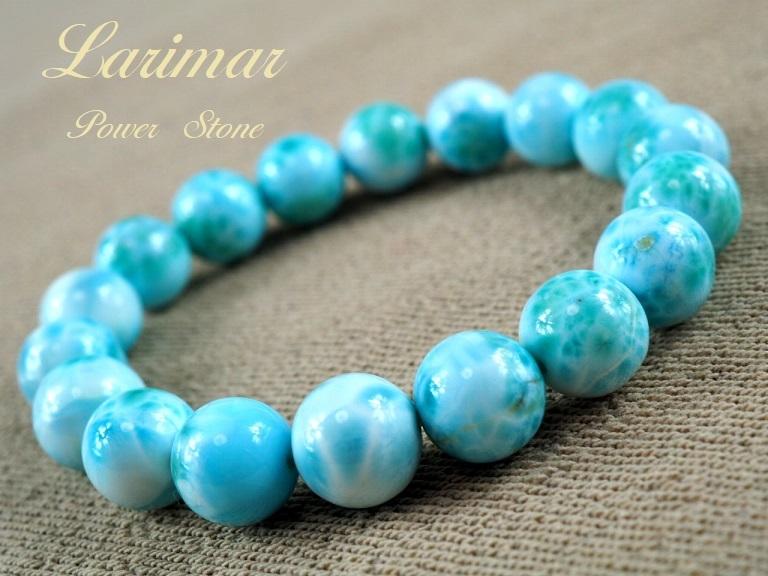 【新品】極上高級天然宝石 ラリマー ドミニカ共和国産 ブレス 11mm ブルー・ペクトライト パワーストーン larimar メンズ 愛と平和 A6_画像1