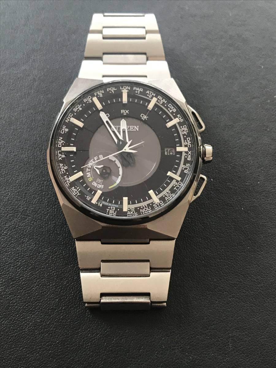 5時 1032 09027 CITIZEN シチズン サテライトウェーブ エコドライブ ソーラー F100-T021077 デイト 黒文字盤 メンズ 腕時計 稼働品