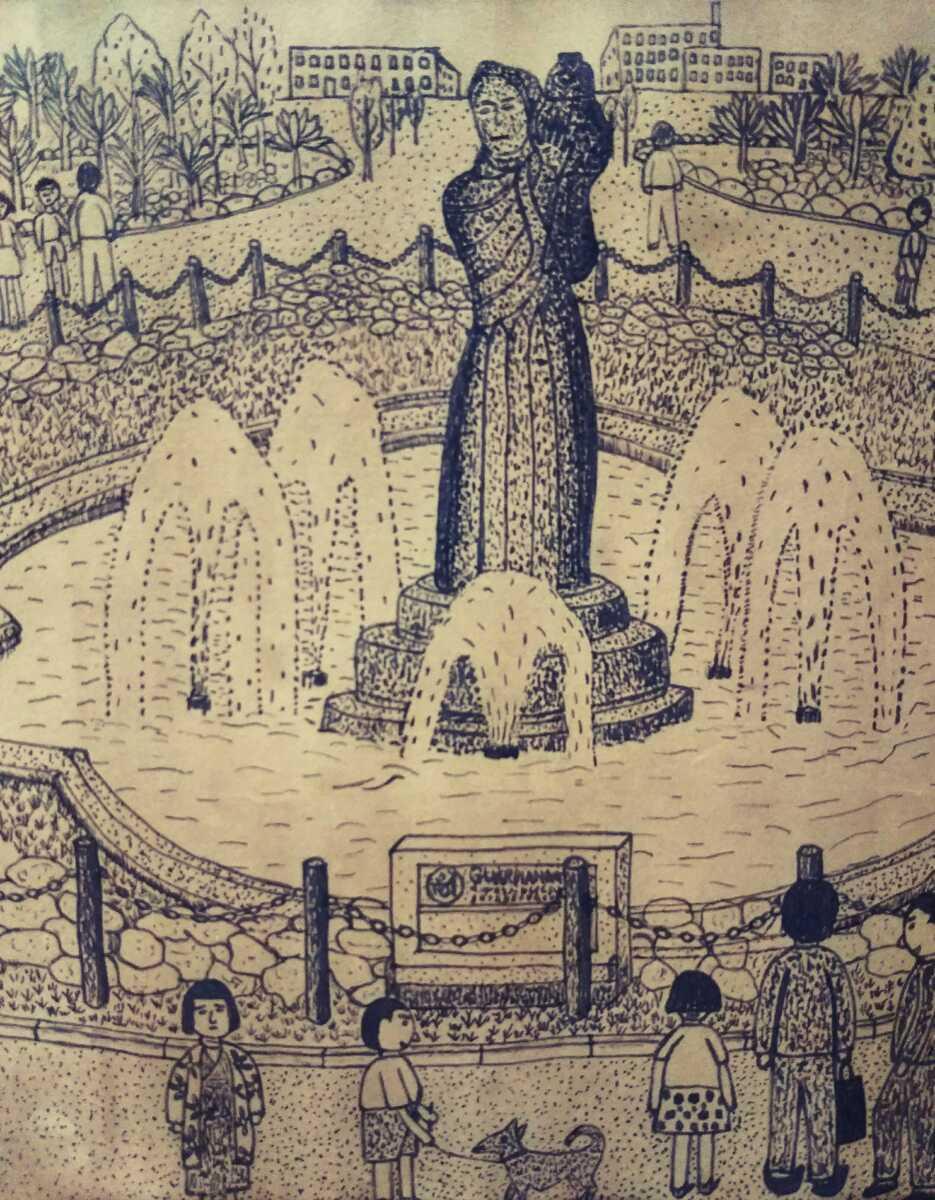 【極細密画!】山下清 肉筆ペン画 「山下公園」 未鑑定模写出品 コレクター初蔵出! 裸の