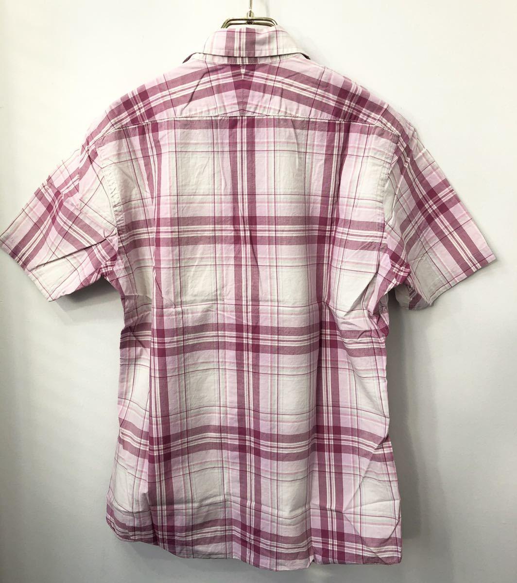 美品 BURBERRY BLACK LABEL バーバリーブラックレーベル ホースマーク刺繍 チェック 半袖シャツ 2 ピンク