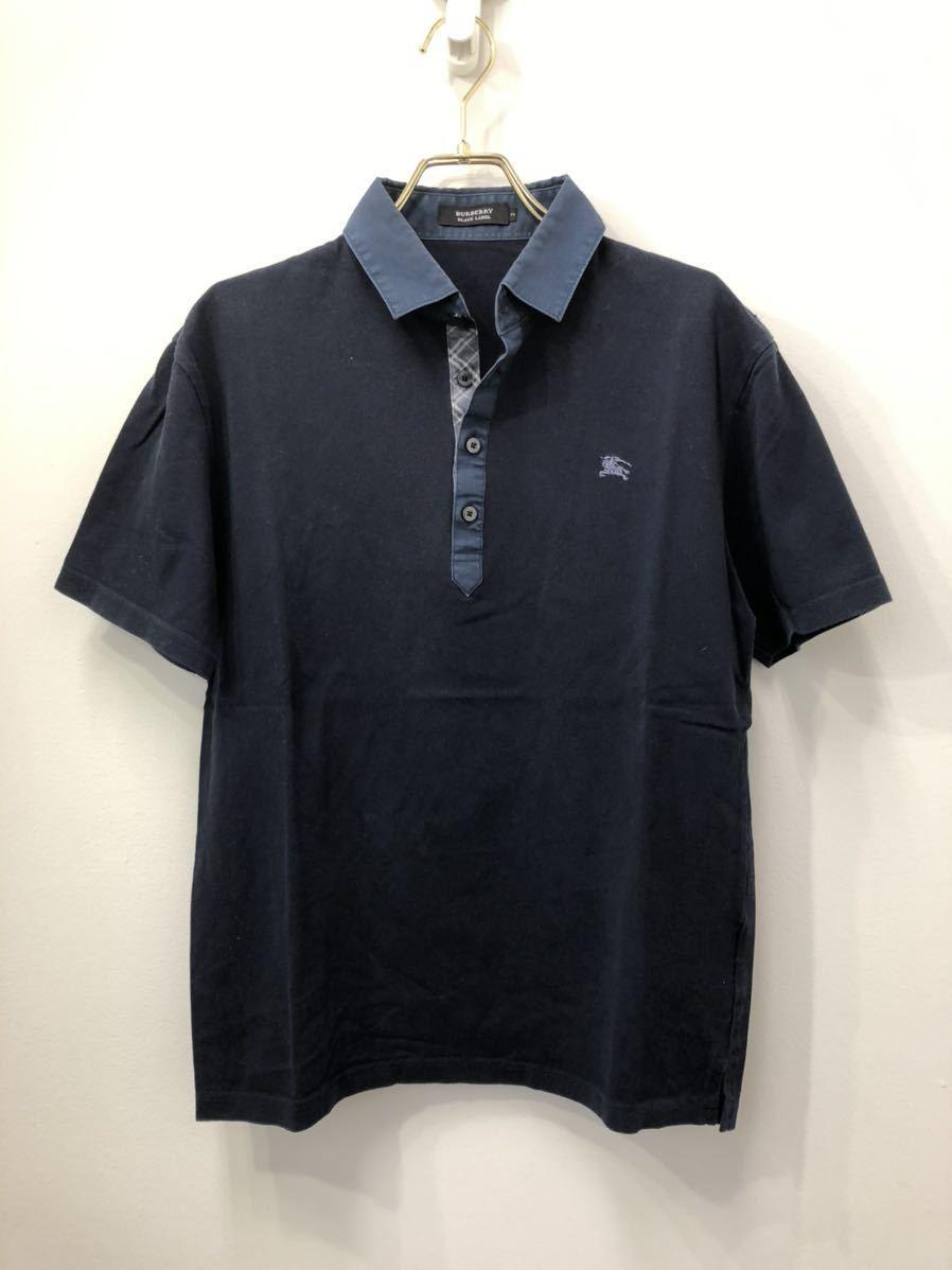 BURBERRY BLACK LABEL バーバリーブラックレーベル ホースマーク刺繍 ノバチェック切り替え ポロシャツ 2 ネイビー