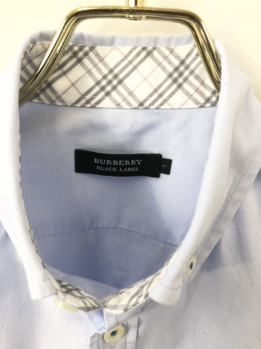 極美品 BURBERRY BLACK LABEL バーバリーブラックレーベル ホース刺繍 ノバチェック ボタンダウン オックスフォード 半袖 シャツ 1