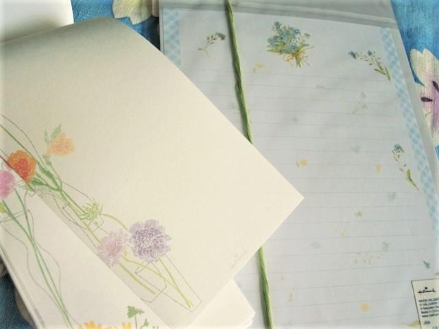 最終:レターセット/青い小花ブーケ★一筆箋カードご祝儀袋他 9点セット_画像3