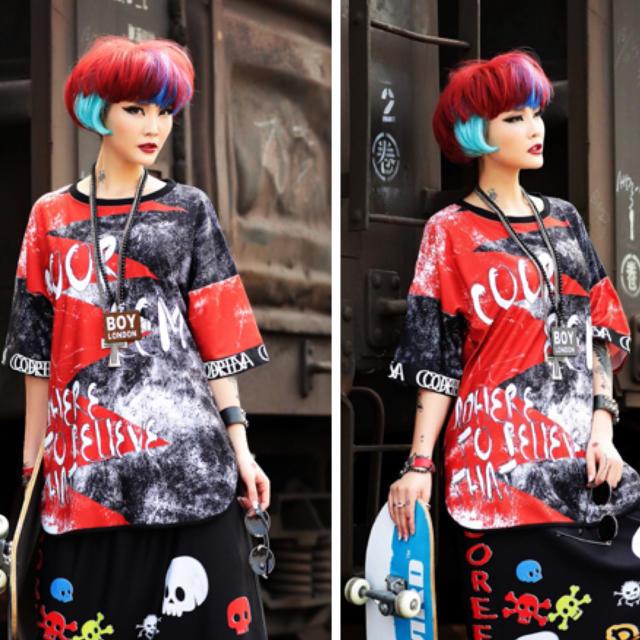 カットソー Tシャツ ドルマン 派手カワデザイン 半袖 大きいサイズ