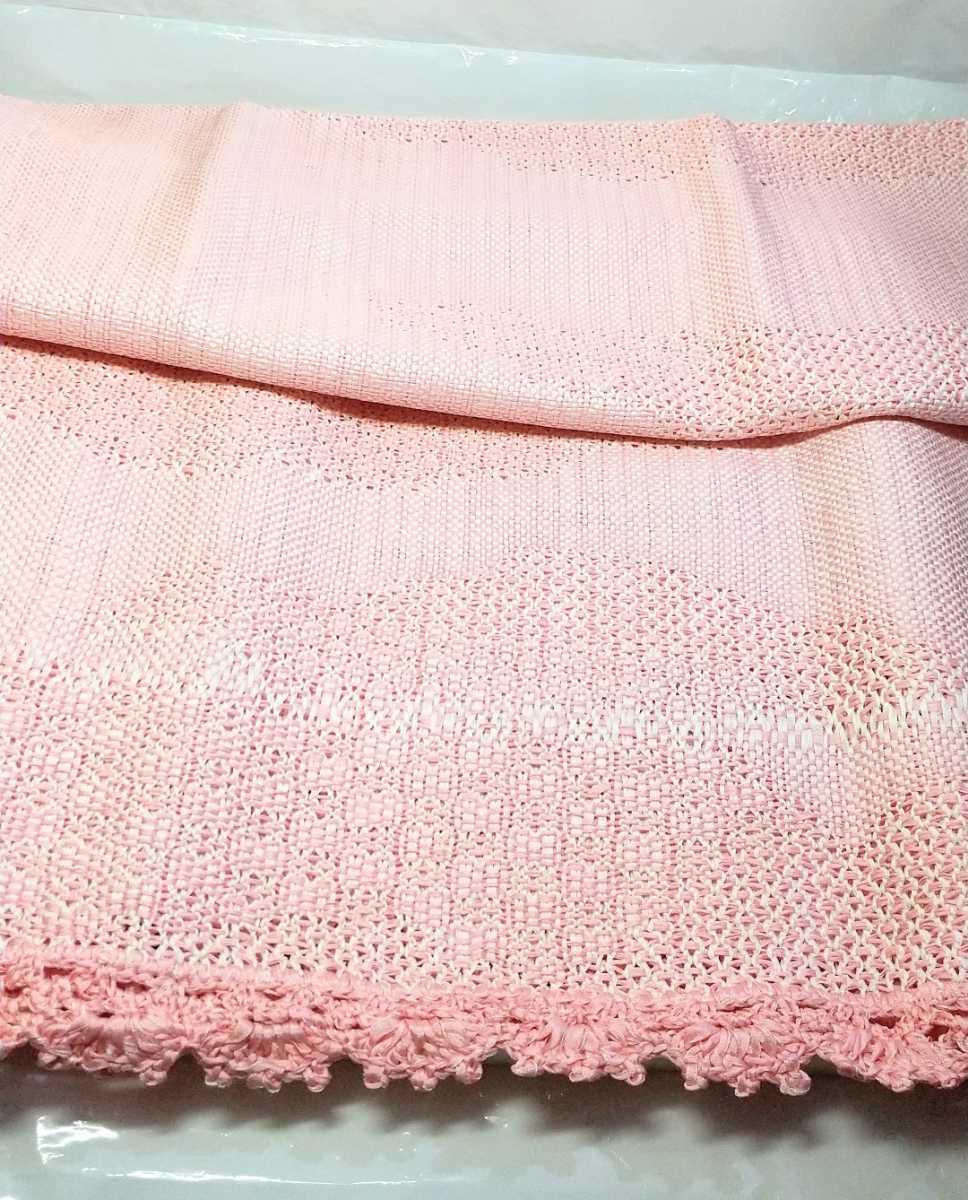 ジャンク レトロ 着物 絹100% ショール  レース チュール 和装小物 布 布地 シルク silk ピンク 羽織 はぎれ ハンドメイド _画像3