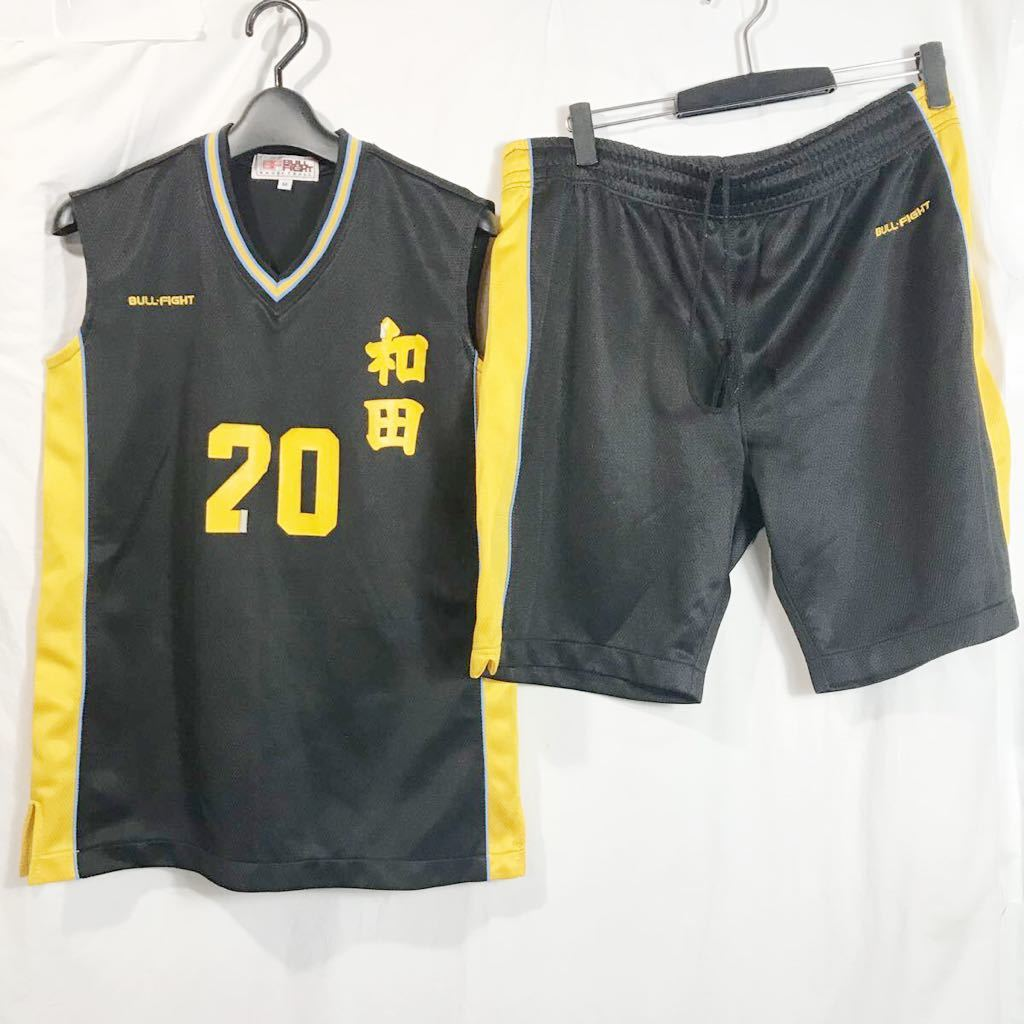 和田 女子バスケットボール部 ブルファイトbull fight #20 黒 ブラック バスケユニフォーム バスケットボール 上下セット Mサイズ_画像1