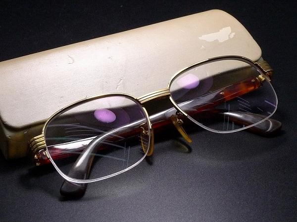 ▲60Z1152▲K18金フレーム本鼈甲製テンプル眼鏡・総重量約48g_下記の画像・説明も必ずご覧下さい。
