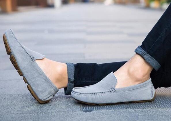 ローファー スリッポン 新品メンズ ドライビングシューズ カジュアル 紳士靴 グレー 25.5cm_画像4