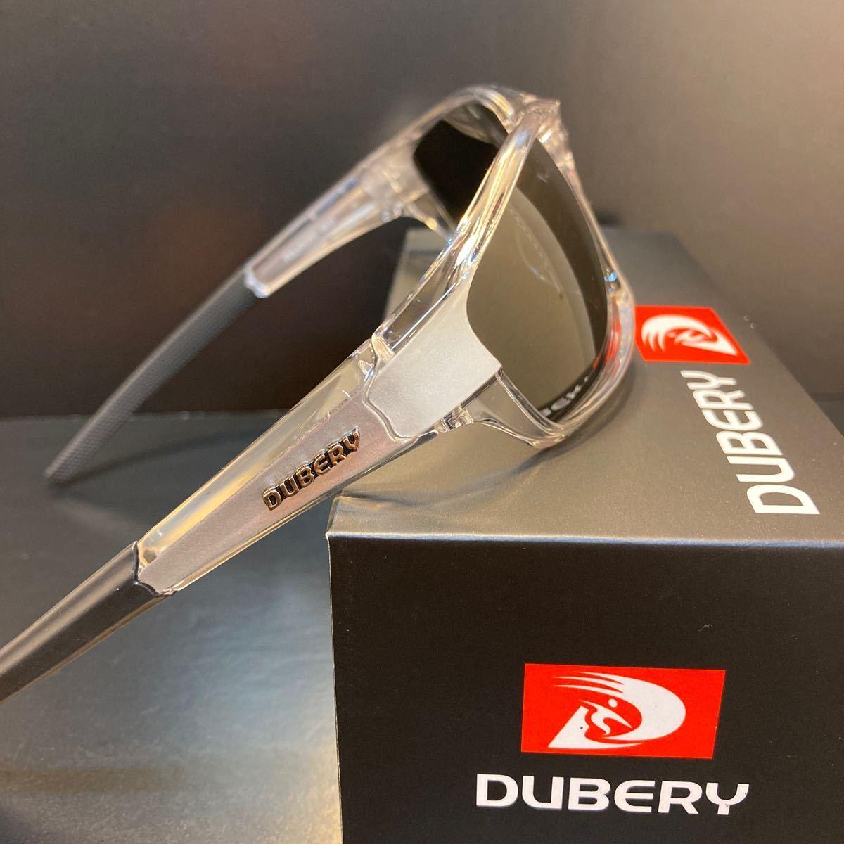 DUBERY 偏光 サングラス UVカット 新品 送料無料 ブラックレンズ シルバークリア 即決 バス釣り 釣り サイクリング エギング