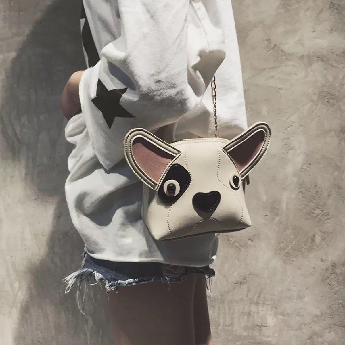 ポーチ 犬 イヌ いぬ フェイス ミニポーチ 小さめ イヌ耳 ベージュ ドッグ
