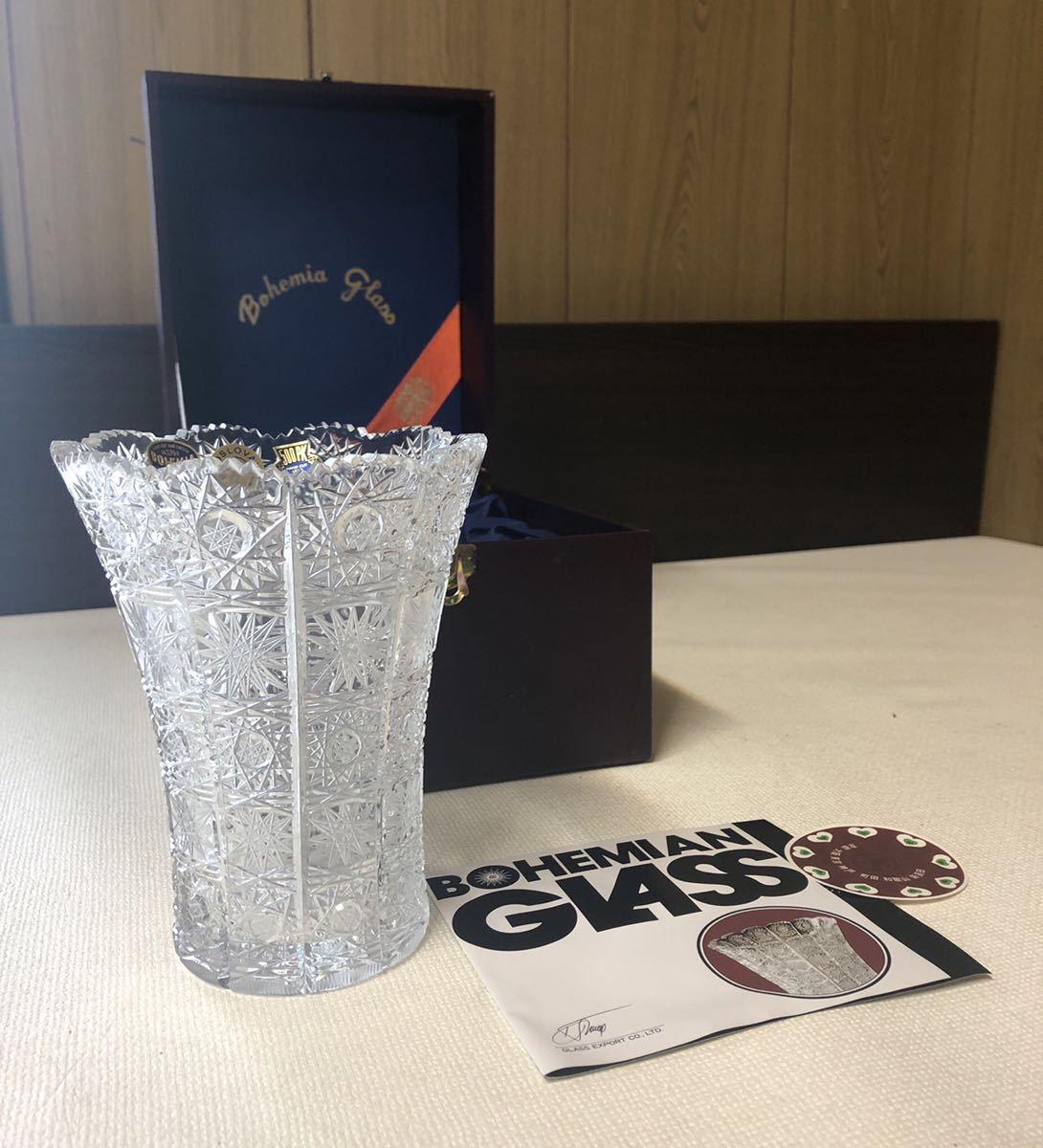 20A09-48:BOHEMIA ボヘミアクリスタル 500PK クリスタルガラス フラワーベース 花瓶 花器 切子 12×12×15_画像1