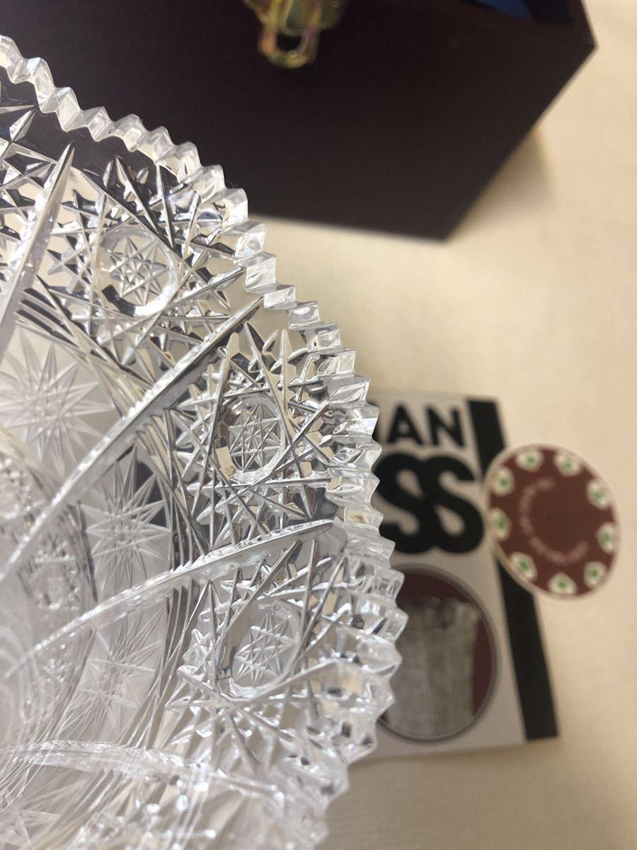 20A09-48:BOHEMIA ボヘミアクリスタル 500PK クリスタルガラス フラワーベース 花瓶 花器 切子 12×12×15_画像7