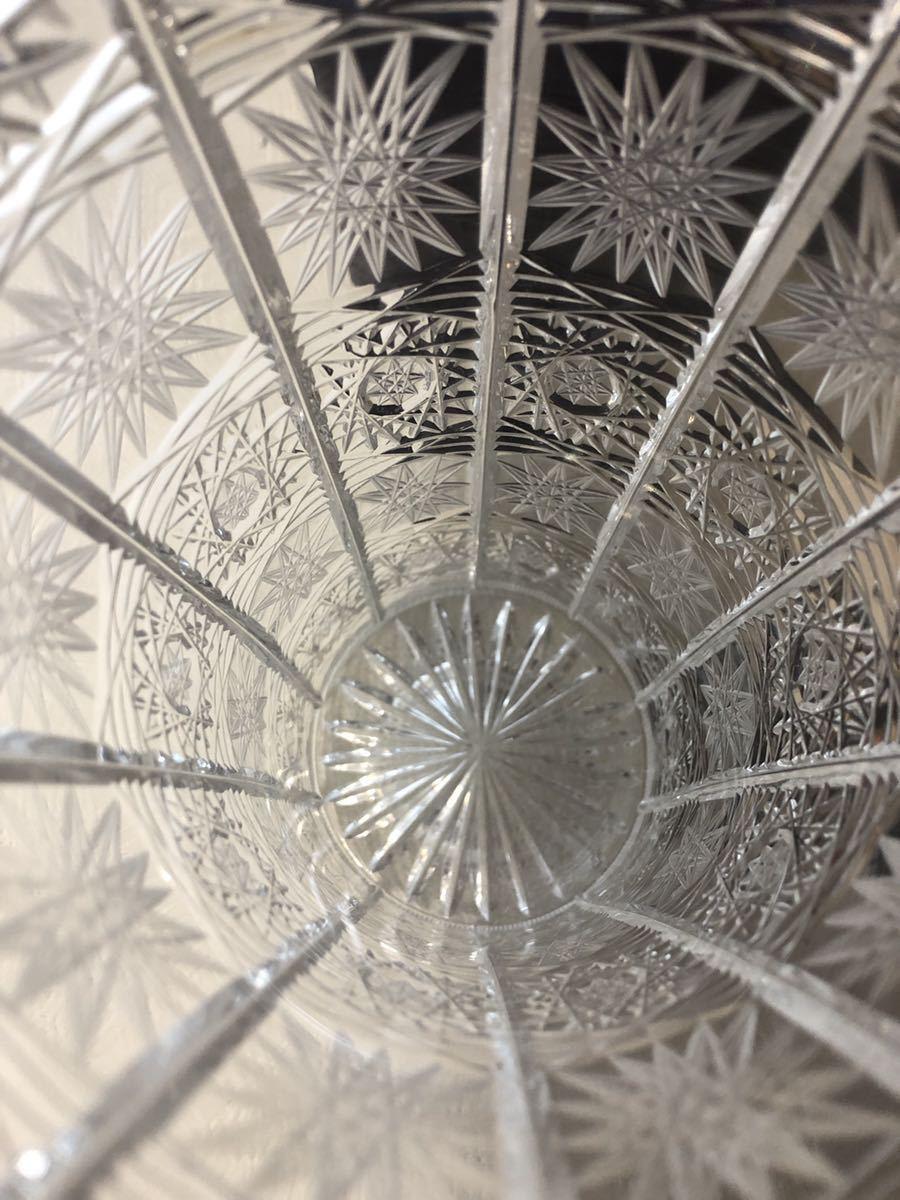 20A09-48:BOHEMIA ボヘミアクリスタル 500PK クリスタルガラス フラワーベース 花瓶 花器 切子 12×12×15_画像3