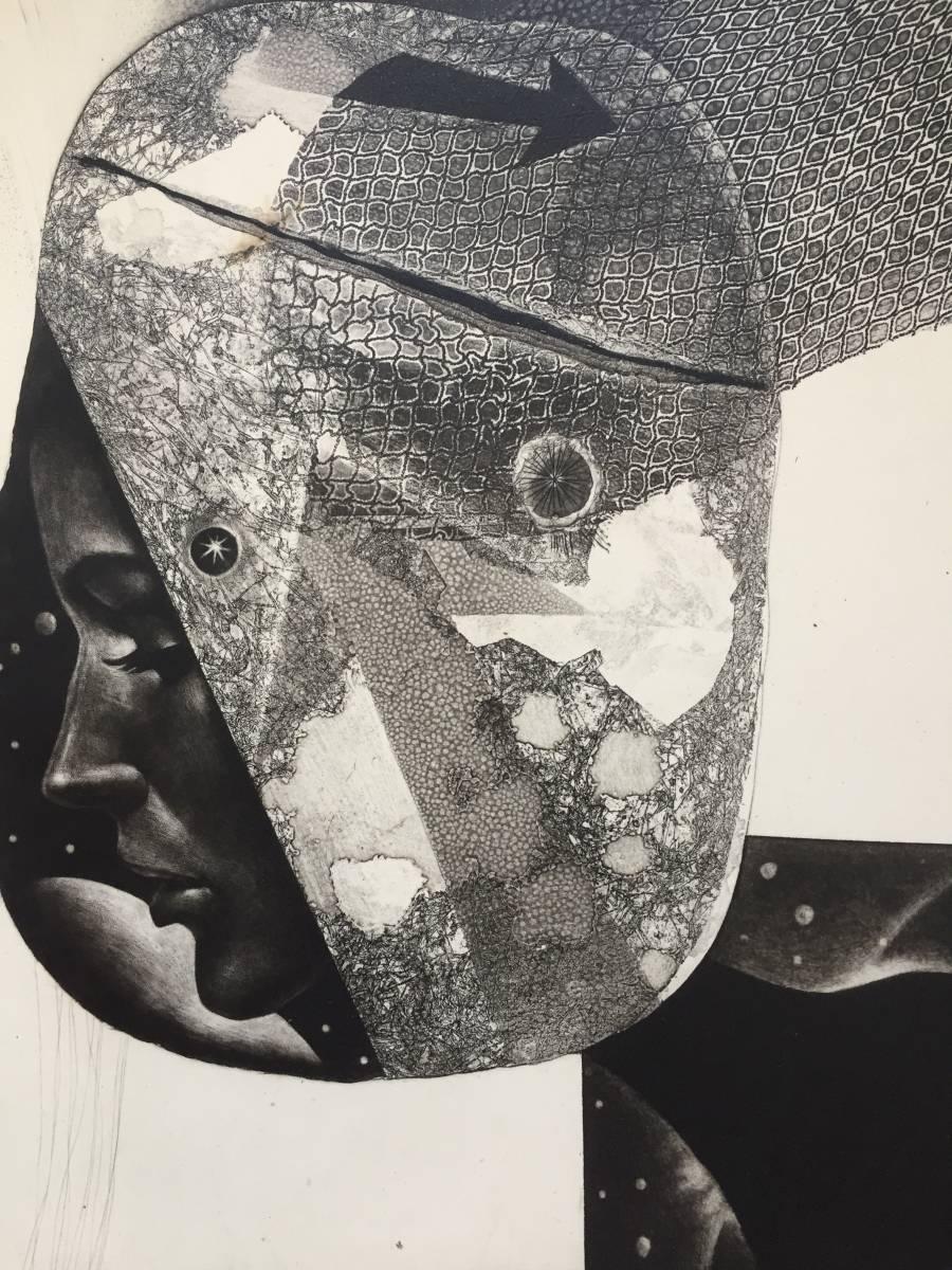 深沢幸雄(深澤幸雄) 『 ひたいの傷 』  銅版画 1979年 75部 額装  【真作保証】 _画像3