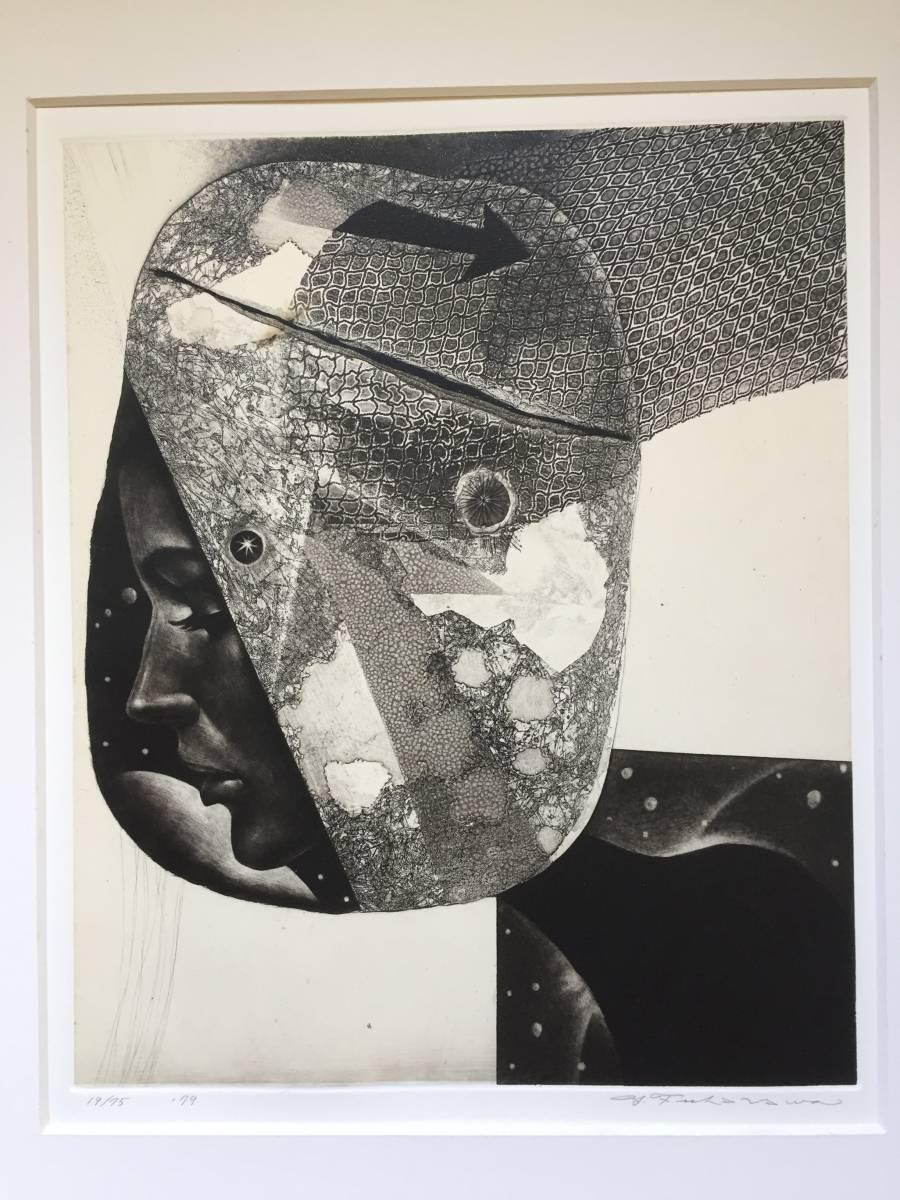 深沢幸雄(深澤幸雄) 『 ひたいの傷 』  銅版画 1979年 75部 額装  【真作保証】 _画像1