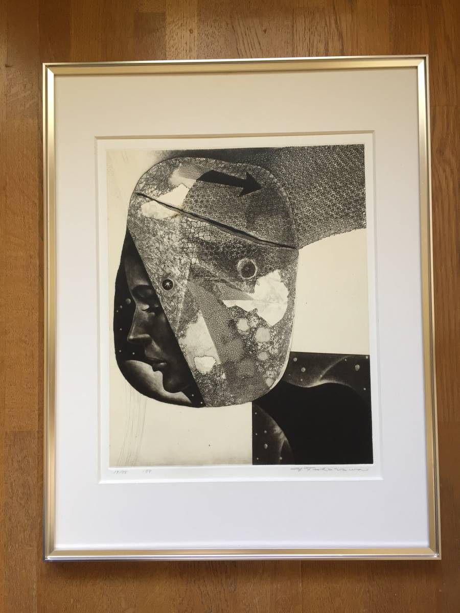 深沢幸雄(深澤幸雄) 『 ひたいの傷 』  銅版画 1979年 75部 額装  【真作保証】 _画像2