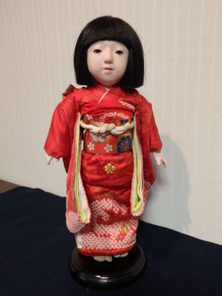 (I)光龍斎・瀧澤義豊 赤綸子金駒刺繍入り絞り振袖を着た市松人形女の子  戦前昭和初期 身長43cm