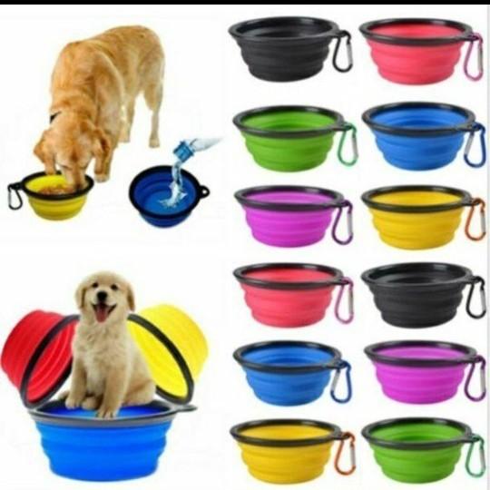 折畳みボウル 食器 犬用 猫用 フード シリコン 500ml  カラビナ付