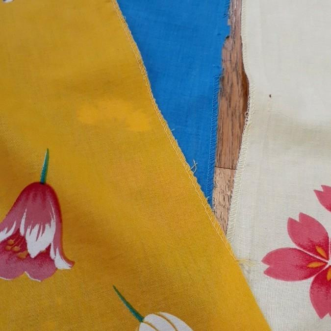 生地 綿 浴衣 3枚 黄 青 クリーム 桜撫子チューリップ はぎれ リメイク