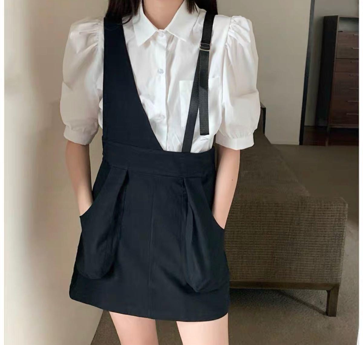 ドレス ドレス 韓国 大きいサイズ サロペットミニ 膝丈 サロペット風 ワン