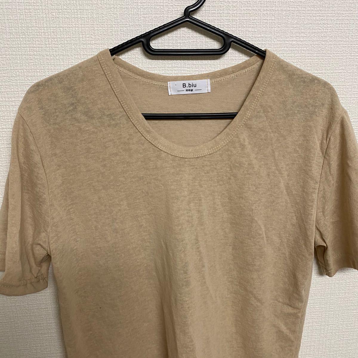 半袖Tシャツ短袖Tシャツ半袖/スパンコールT-shirt ティシャツベージュ