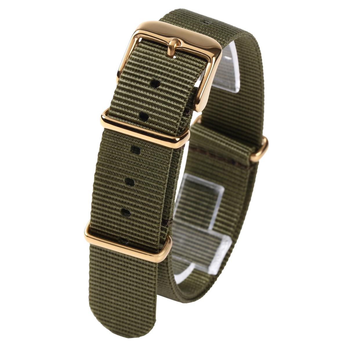 時計ベルト20mm NATO ゴールドバックル カーキグリーン 全長255mm ショートサイズ ナイロンストラップ取付けマニュアル _画像1