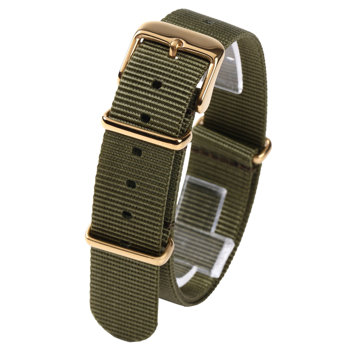 時計ベルト カーキグリーン 20mm NATO ゴールドバックル 全長255mm ショートサイズ ナイロンストラップ取付けマニュアル_画像1