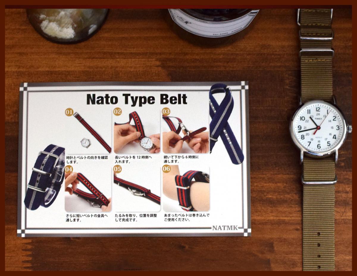 時計ベルト カーキグリーン 20mm NATO ゴールドバックル 全長255mm ショートサイズ ナイロンストラップ取付けマニュアル_画像5