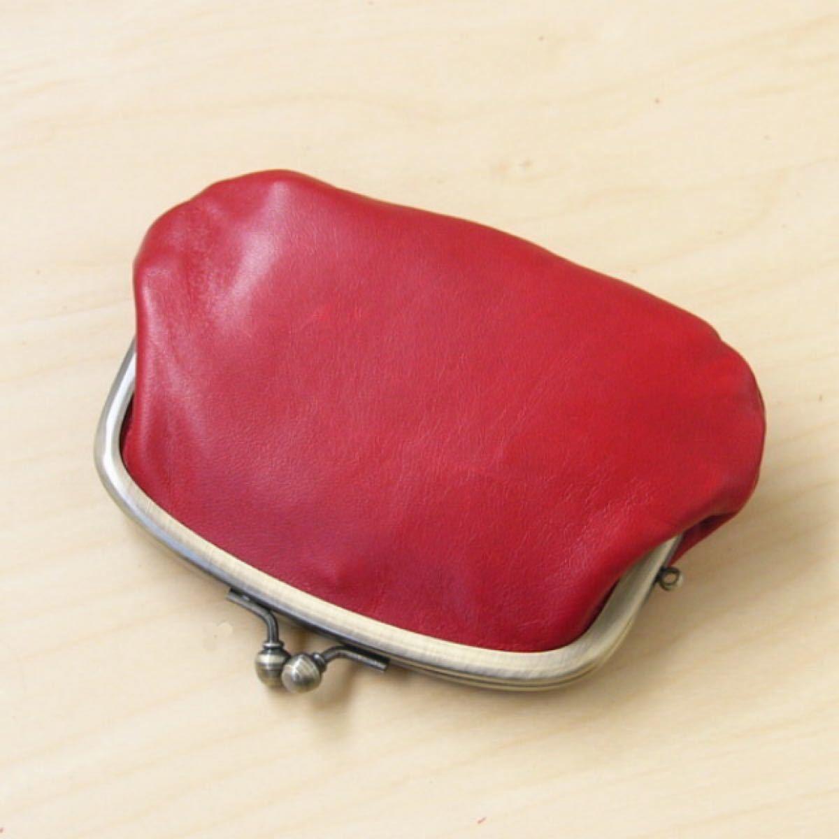 本革 ホースレザー がま口 小銭入れ レッド がま口ポーチ がま口財布 赤