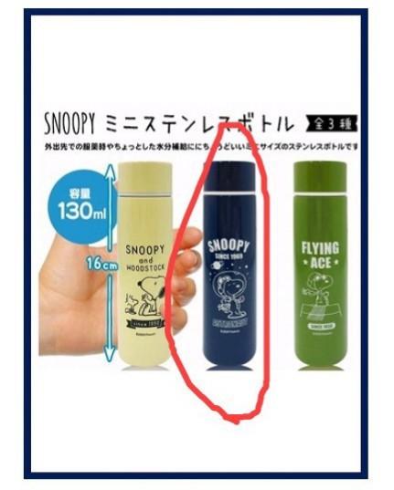スヌーピー 当りくじ ランチケース&ステンレスミニボトル(ネイビー)